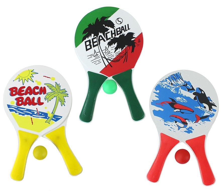 Beachball Set 3-farbig sortiert im Netz - ca 33x19cm