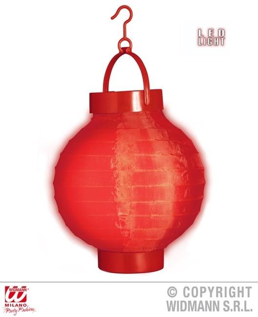 Lampion rot mit 2 weissen LED Lichtern ca 15 cm