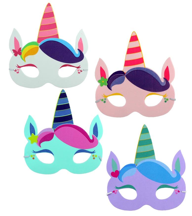 Maske Kindermaske Einhorn 4-fach sortiert - ca 17cm breit