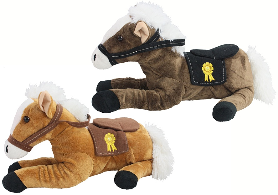 Pferd mit Sattel 2-farbig sortiert liegend ca 35 cm