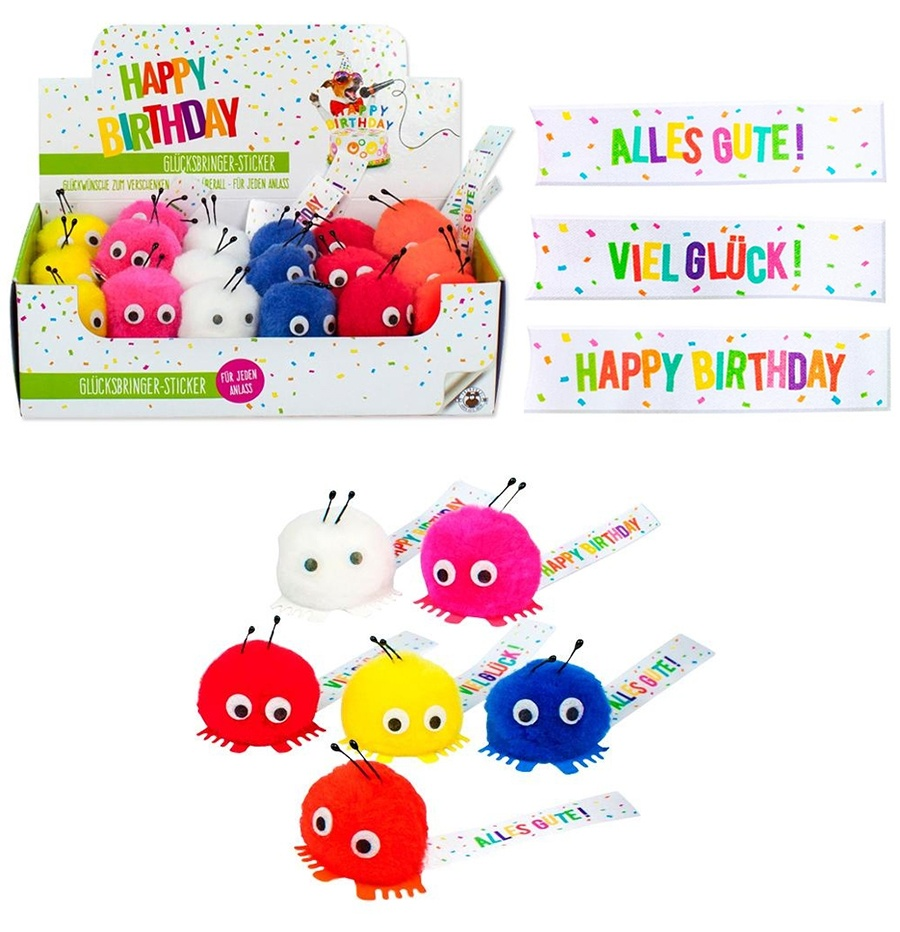 BIRTHDAY FUN Pom-Pom Glücksbringer mit Sticker ca 4cm