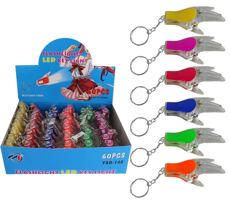 Hand mit Licht an Schlüsselanhänger 6-farbig sortiert ca 7cm
