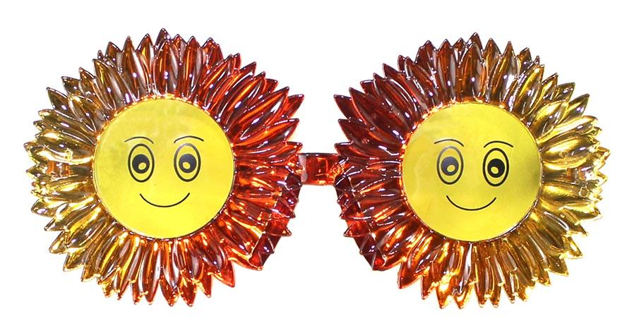 Brille gold lächelnde Sonne - ca 15 cm breit