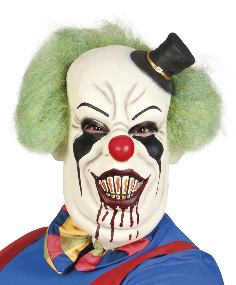 Maske Horror Clown aus Latex mit Haar