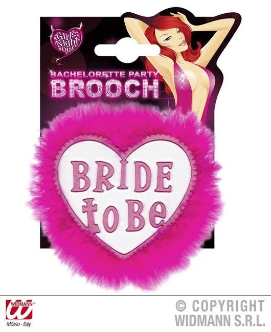 Brosche weiß mit pink BRIDE TO BE