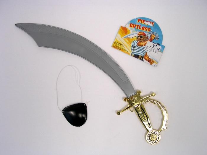 Piratensäbel, ca. 48 cm, und Augenklappe