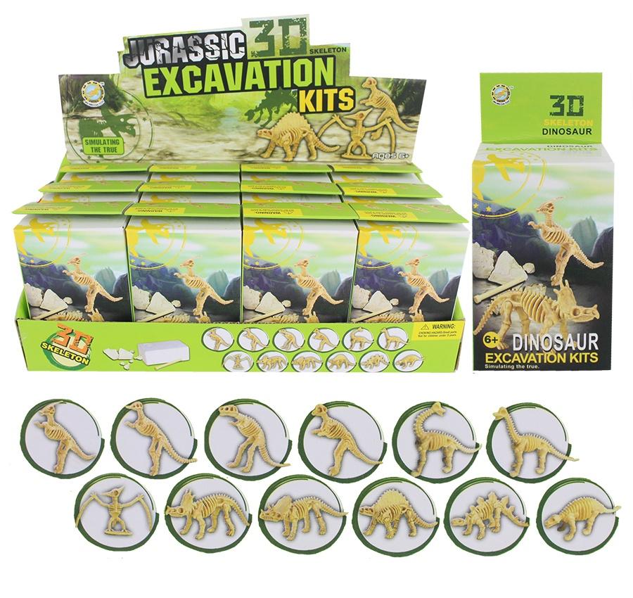 Ausgrabungsset Dinosaurier 6-fach sort in Box ca 10x6,5x4cm