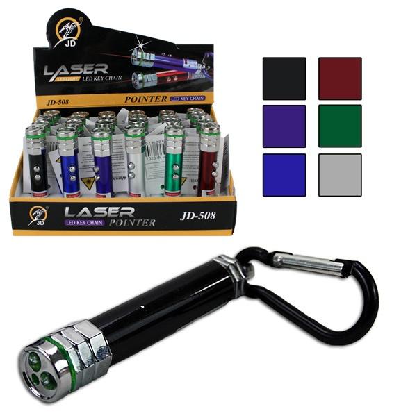 Taschenlampe 6-fach sort mit LED und Laser - ca 8cm