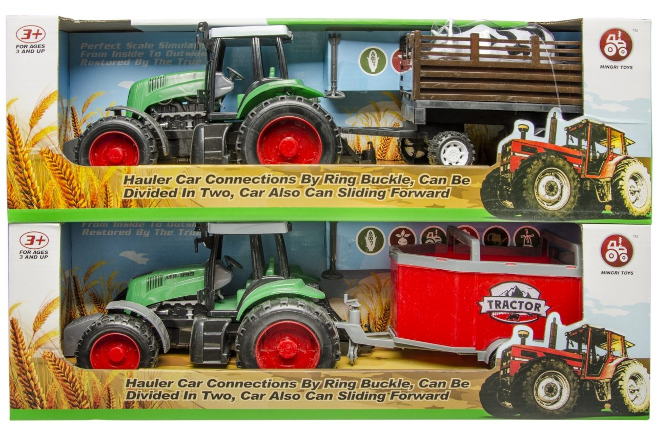 Traktor mit Anhänger 2-fach sortiert - in Box ca 46x14x15cm