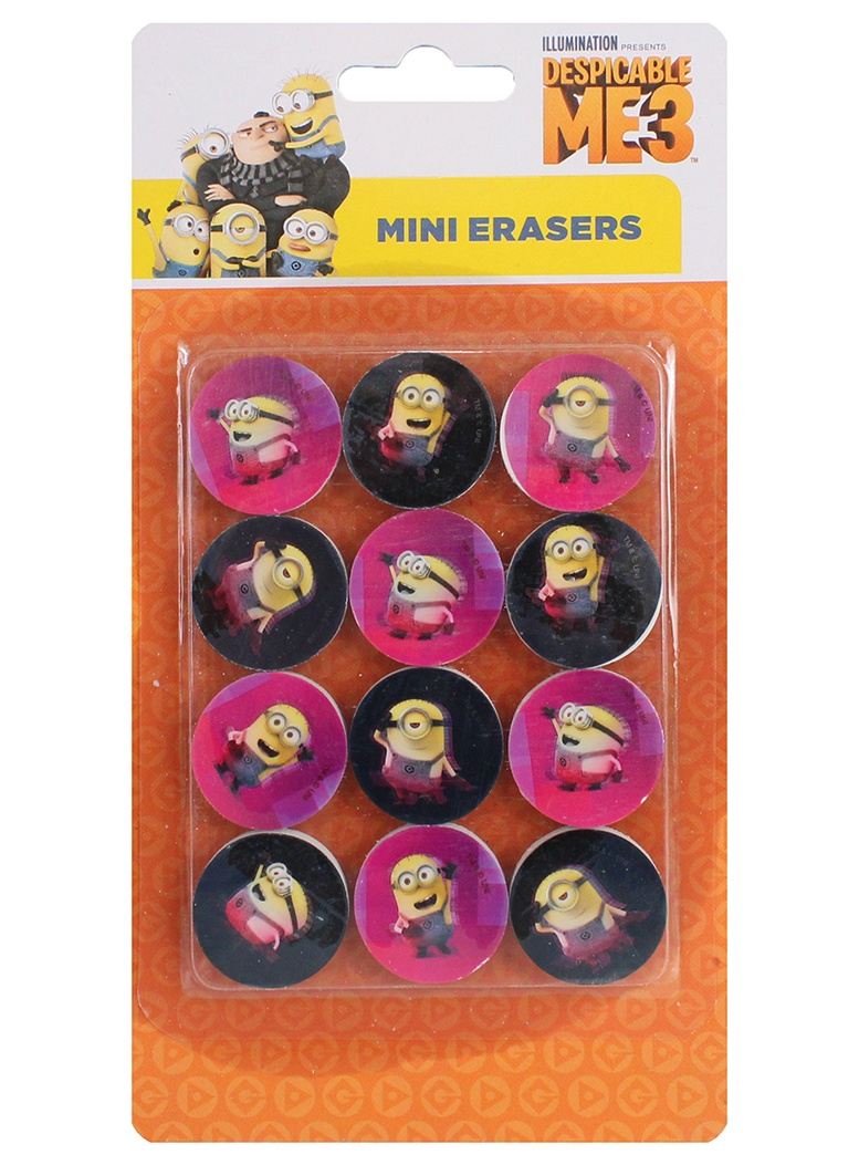 Radiergummi Minions ca 28 mm auf Karte ca 20,5x11cm