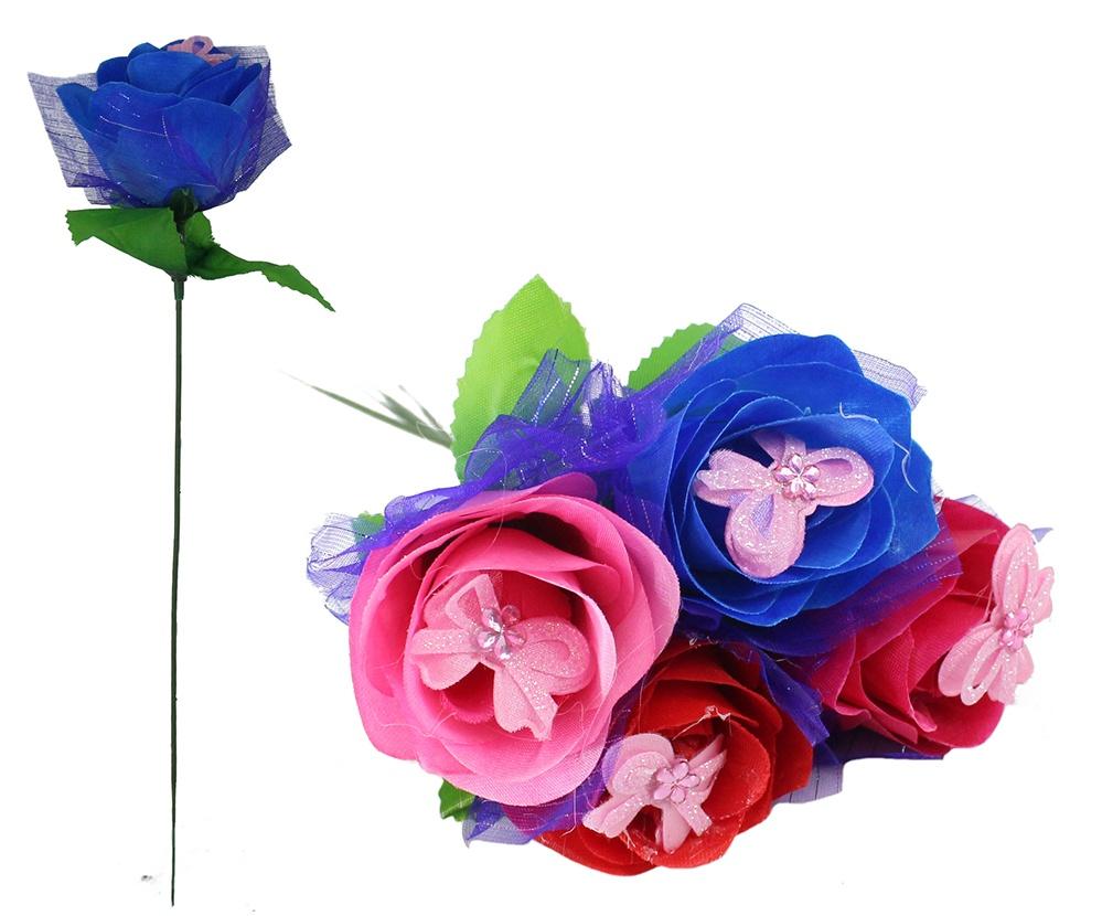 Rose mit Schleife 4 Farben sortiert ca 31 cm