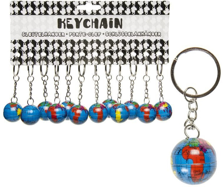 Globus Weltkugel Metall an Schlüsselanhänger - ca 25mm