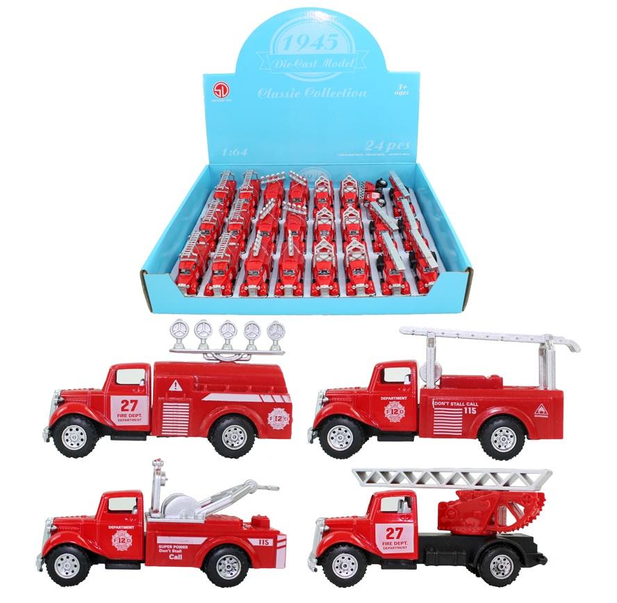 Feuerwehrauto Metall/Kunststoff 4 fach sortiert ca 8,5 cm