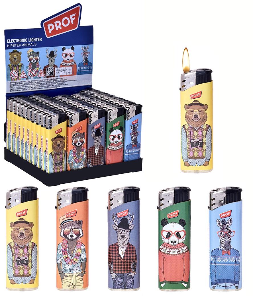 Feuerzeug elektronisch Hipster Animals ca 8cm
