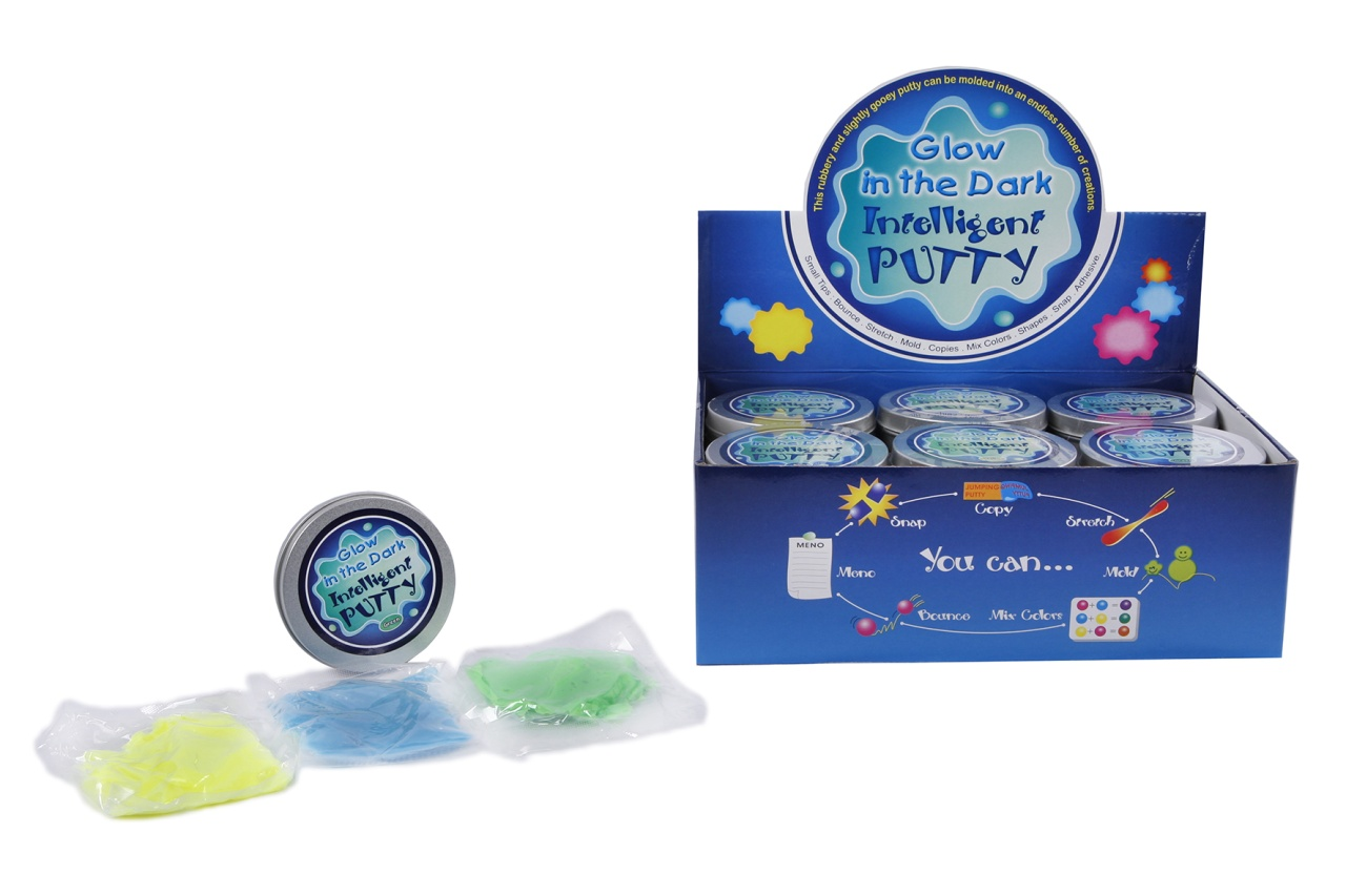 Putty Knete  ,Glow in the dark, 3 Farben sortiert ca 8,5x2cm