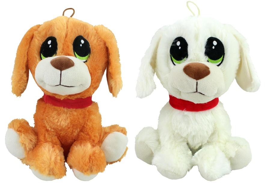 Hund mit großem Kopf u gestickten Augen 2-fach sort ca 25cm