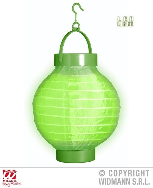 Lampion grün mit 2 weissen LED Lichtern ca 15 cm