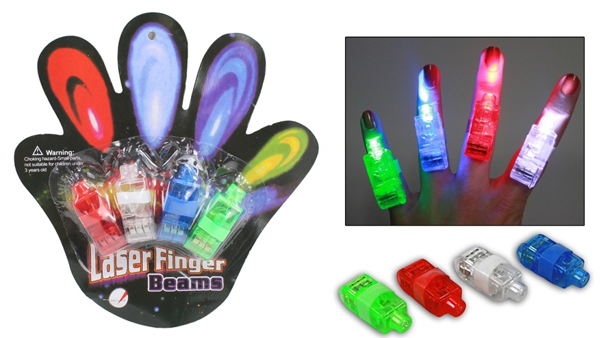 LED Fingerlampe 4-fach sortiert auf Karte ca 16,5x15,5cm
