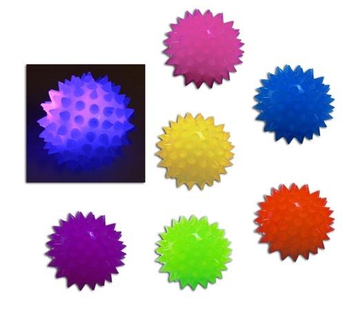 Ball - Stachelspringball mit Licht 6-fach sortiert - ca 6 cm