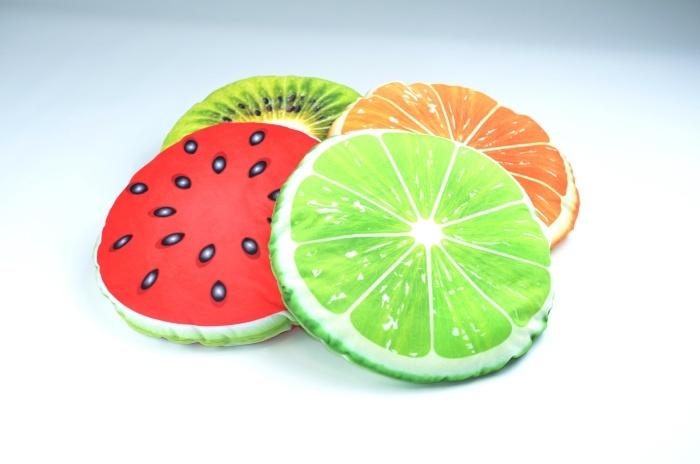 Früchtekissen bedruckt, rund, 4-fach sortiert ca 34 cm