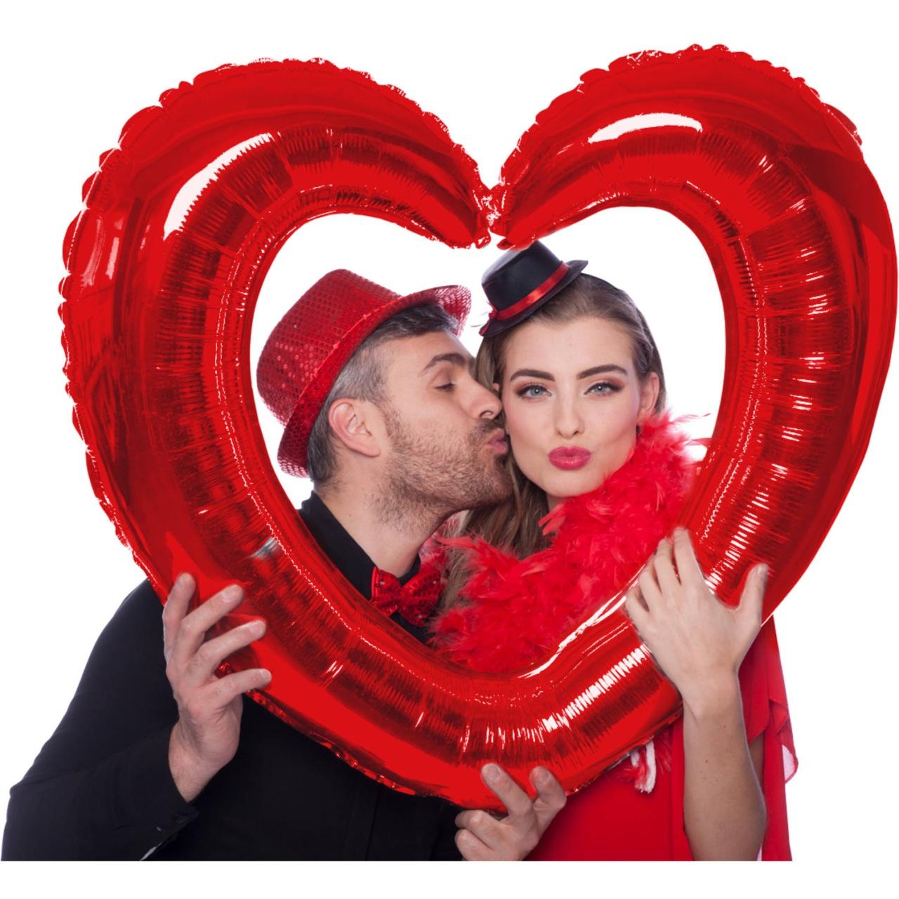Folienballon Herz Bilderrahmen rot ca 80x70 cm