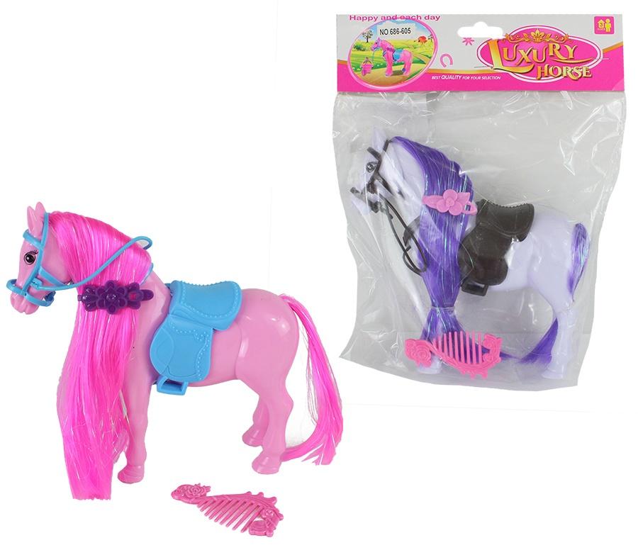 Pferd mit Sattel 2-farbig sortiert - ca 16,5cm