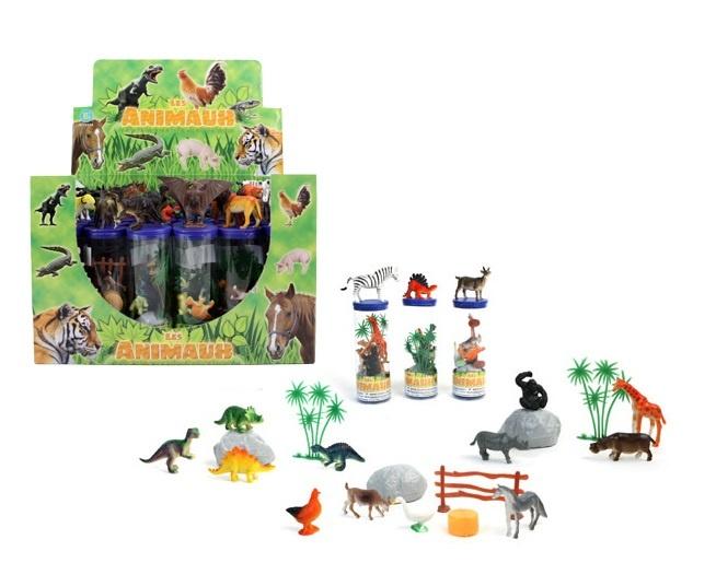 Tiere und Dinos mehrfach sort- mit Zubehör in Dose - ca 20cm