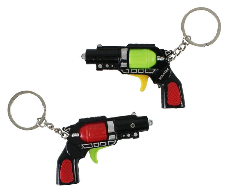Pistole mit Licht 2-fach sortiert an Schlüsselkette - ca 7cm