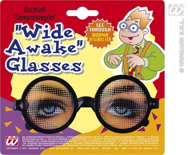 Brille - Scherzbrille Hellwach auf Karte ca 18x16,5cm