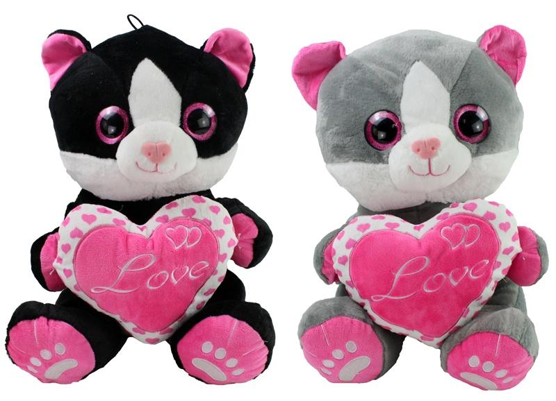 Katze mit Herz LOVE 2-fach sortiert ca 45 cm