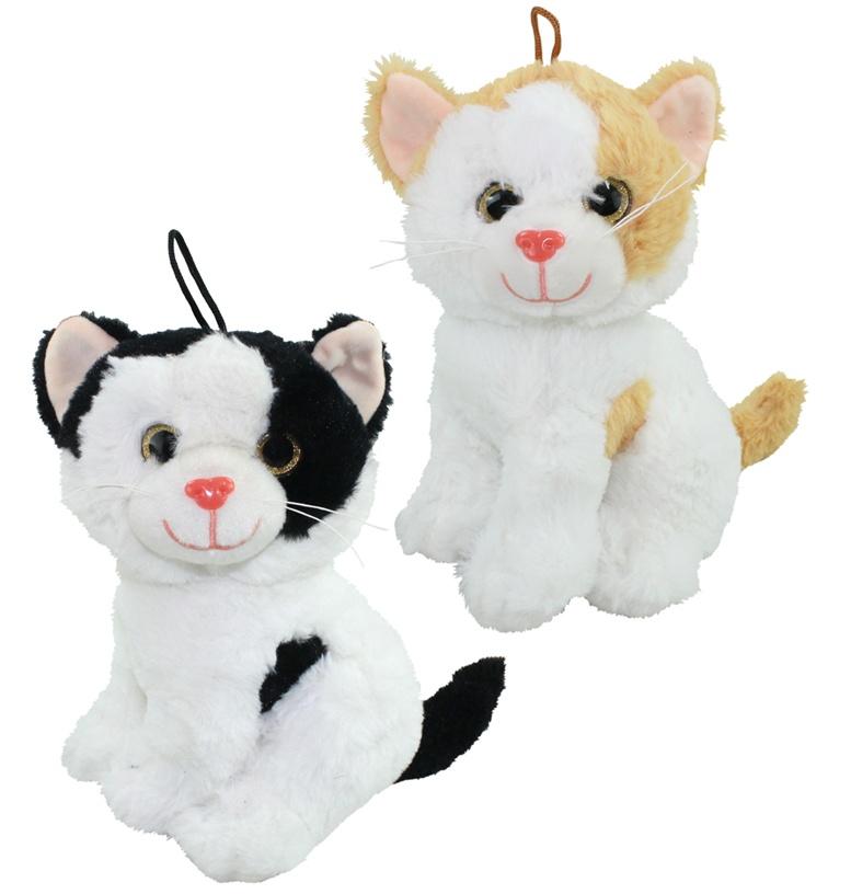 Katze mit Glitzeraugen sitzend 2-fach sortiert - ca 22 cm