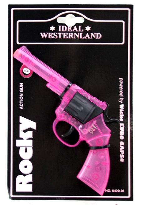 Pistole 100 Schuss Pistole Rocky Pink transparent - ca 19cm