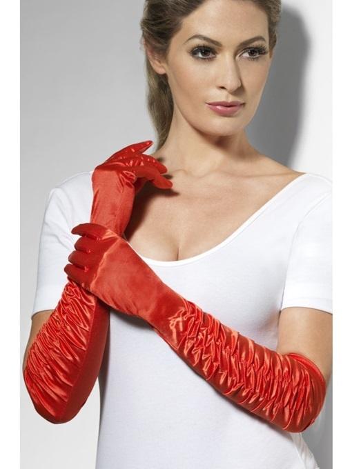 Handschuhe gerüscht lang rot