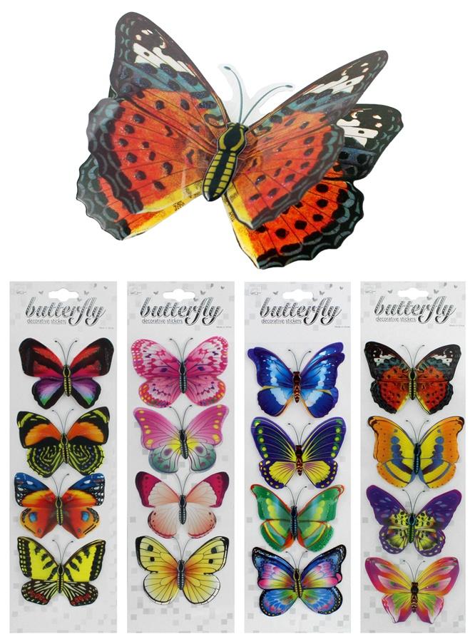 Dekosticker Schmetterling  4 Stück auf Karte - ca 10,5x7,5cm