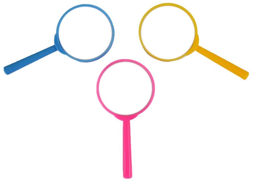 Lupe 3-farbig sortiert im Beutel, ca 12,5 cm (Ø ca 6 cm)