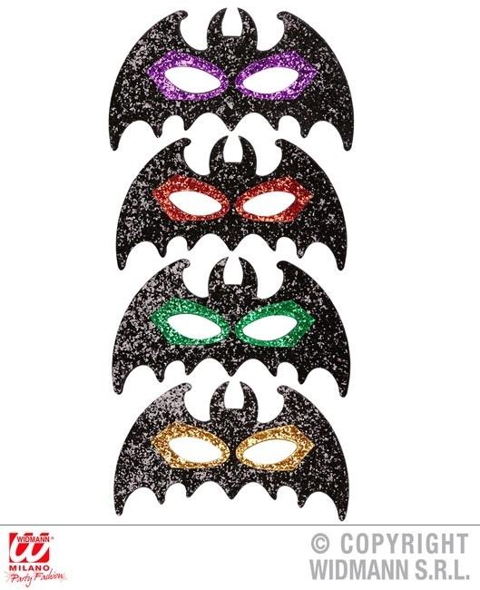 Augenmaske Fledermaus mit Glitter 4 Farben sortiert