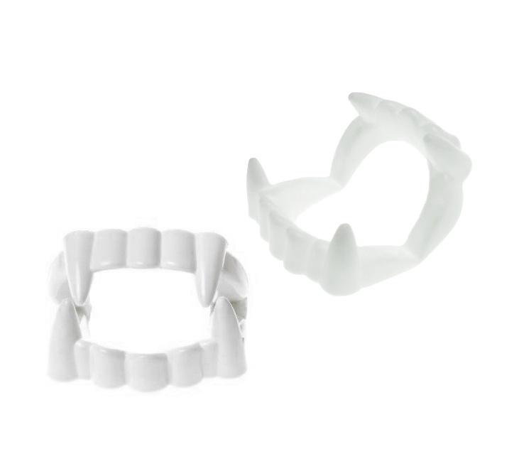 Gebisse Vampirzähne  -weiß- Plastikzähne einzeln verpackt