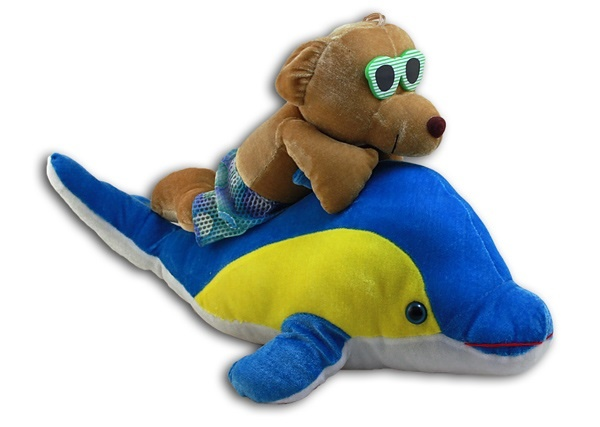 Bär ca 35cm auf Delfin ca 51cm