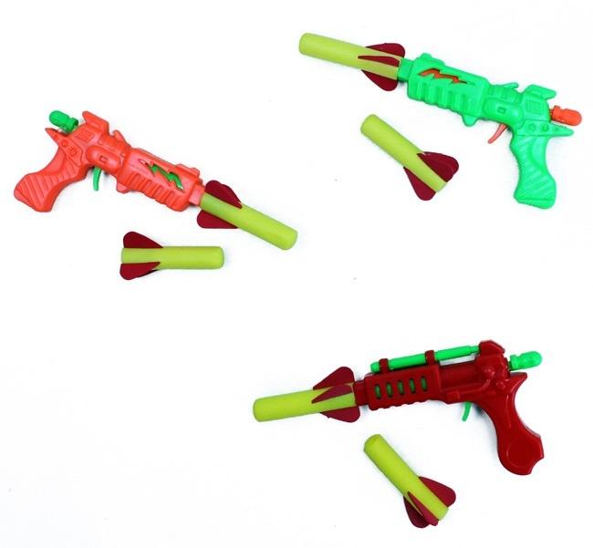 Pfeilpistole 3-fach sortiert mit 2  Soft Pfeilen - ca 13cm