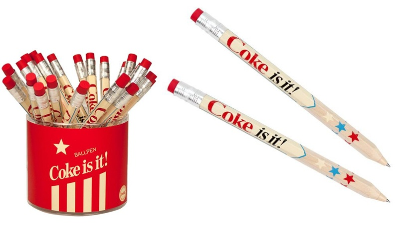 COKE AMERICANA Coca Cola Kugelschreiber radierbar - ca 17cm