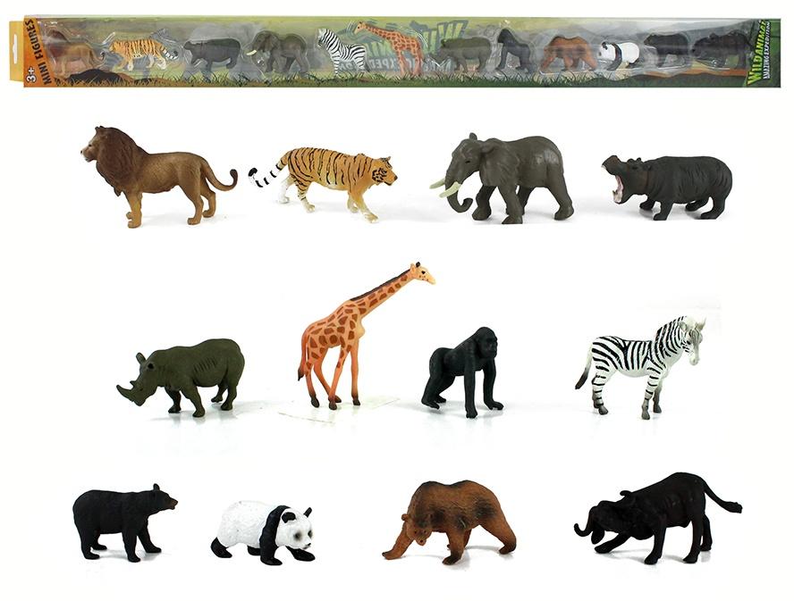 Wildtiere in Klarsichtbox 12 Stück in Box