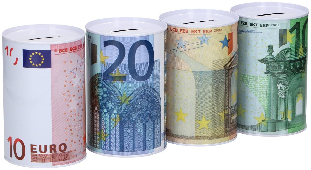 Spardose Euroscheine 4-fach sortiert ca 12,5 x 8 cm