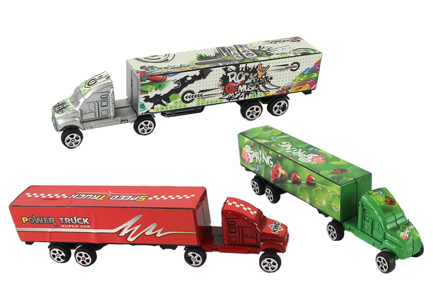 Truck mit Anhänger 3-farbig sortiert im Beutel, 15 cm