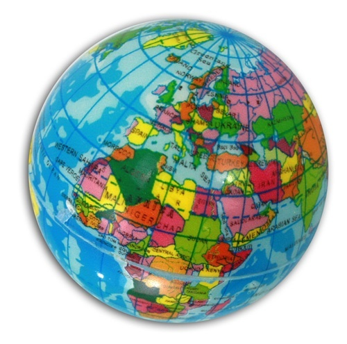 Weltkugelball - Globus - Knautschball - Durchmesser ca 6 cm