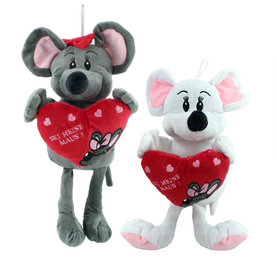 Maus m Schlenkerbeinen + Herz Sei meine Maus 2-fach