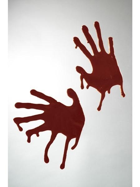 Handabdrücke blutig Sticky 2 Stück - je ca 24x15cm