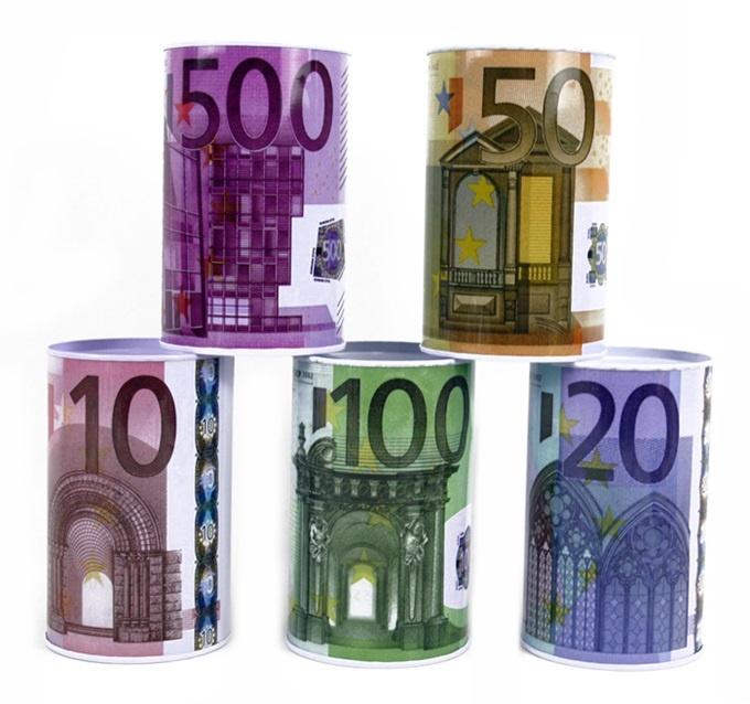 Spardose mit Euro Design mehrfach sortiert - ca 12x7,5cm