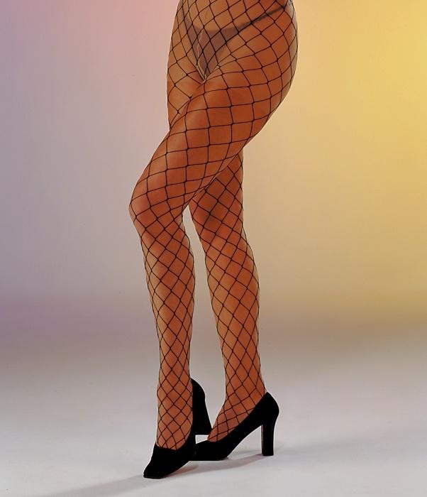 großmaschige Netzstrumpfhose, schwarz
