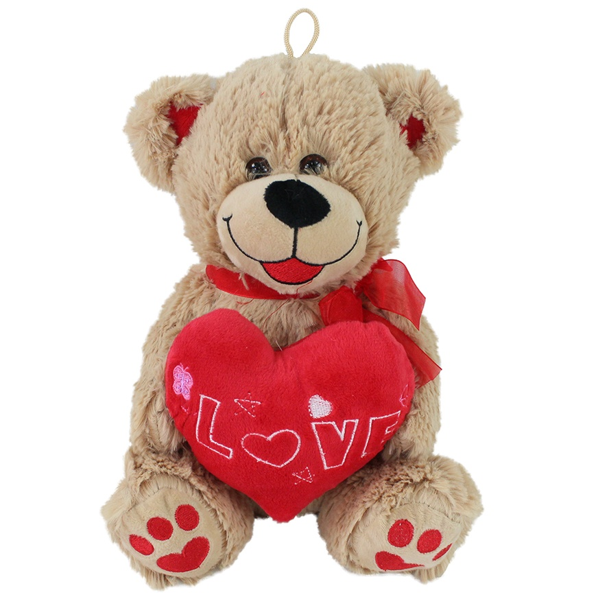 Bär mit Herz beige + rotem LOVE Herz - ca 30cm