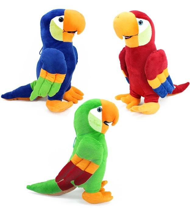 Papagei sitzend 3 Farben sortiert ca 37 cm